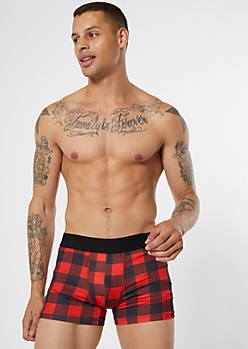 Red Plaid Print Active Trunks