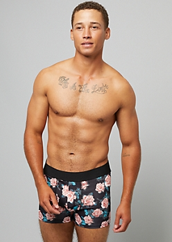 Black Rose Print Active Trunks