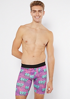 Purple Drip Print Boxer Briefs