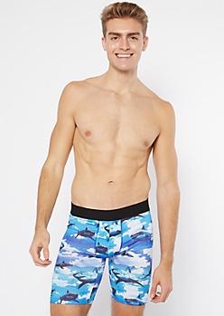 Blue Shark Print Boxer Briefs