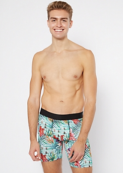 Watercolor Tropical Print Boxer Briefs