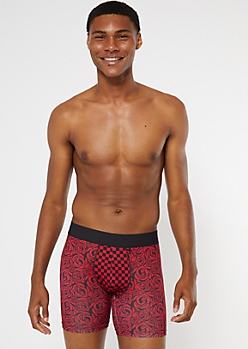 Red Rose Print Boxer Briefs