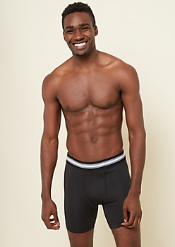 Black Striped Waistband Active Boxer Briefs