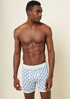 Mint Geometric Print Active Boxer Briefs