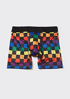 Rainbow Checkerboard Boxer Briefs