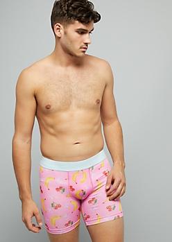 Pink Banana Print Active Boxer Briefs