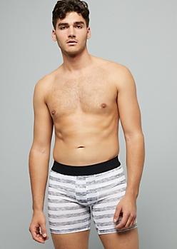 White Striped Active Boxer Briefs