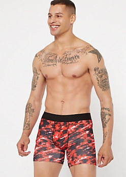 Red Marble Print Boxer Briefs