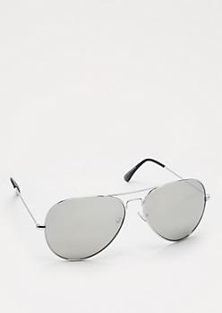 Silver Mirror Lens Silver Tone Aviators