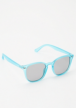 Blue Matte Square Sunglasses