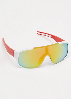 White Colorblock Mirrored Shield Sunglasses