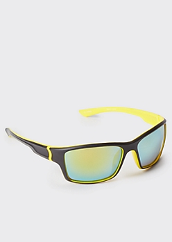 Neon Yellow Wrap Sport Sunglasses