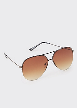 Brown Ombre Aviator Sunglasses