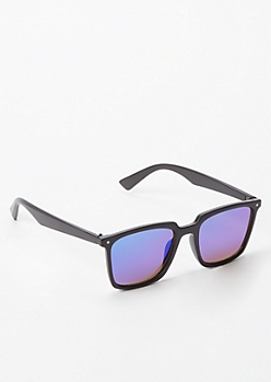 Matte Blue Reflective Sunglasses