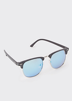 Blue Faux Wood Square Sunglasses