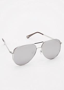 Silver Reflective Lense Aviator Sunglasses