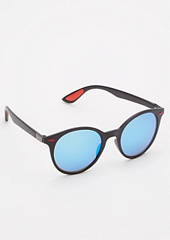 Matte Blue Mirrored Sunglasses