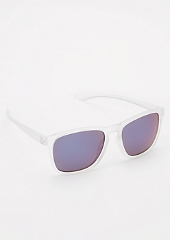 Clear Blue Mirrored Sunglasses