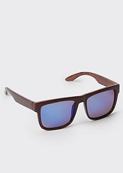 Wood Grain Square Sunglasses