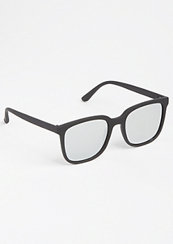 Black Matte Mirrored Square Sunglasses