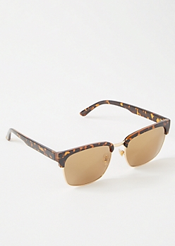 Tortoiseshell Mirrored Square Sunglasses
