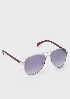 Wood Grain Aviator Sunglasses