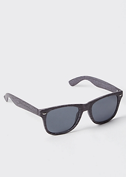 Black Wood Grain Square Sunglasses