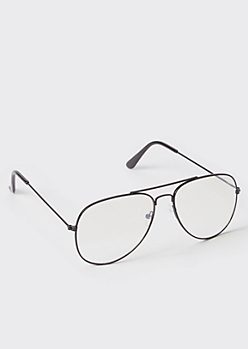Black Skinny Wire Aviator Sunglasses