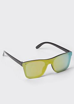 Yellow Mirrored Sport Sunglasses