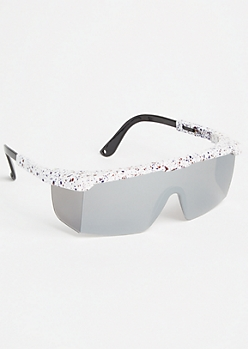 White Speckled Mirrored Sport Sunglasses