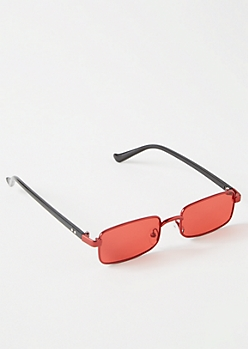 Red Skinny Rectangle Sunglasses