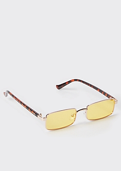 Rose Gold Skinny Rectangle Sunglasses