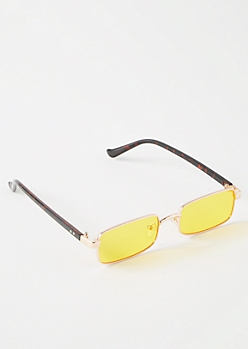 Gold Skinny Rectangle Sunglasses