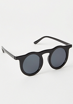 Black Round Nose Bar Sunglasses