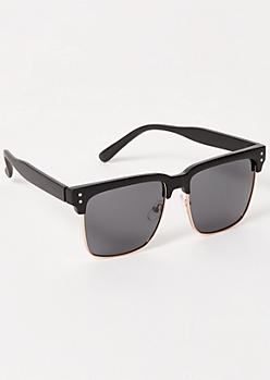 Matte Black Square Browline Sunglasses