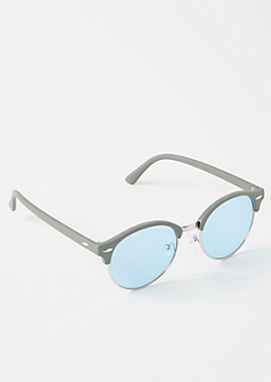 Olive Matte Round Sunglasses