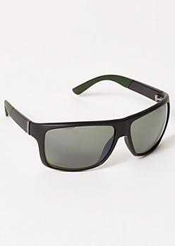 Black Colorblock Striped Sport Guard Sunglasses