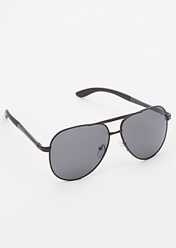 Black Smoky Lense Aviator Sunglasses