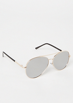 Gold Smoky Aviator Sunglasses