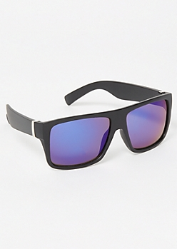 Black Rectangle Mirrored Sport Sunglasses