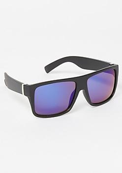 Black Rectangle Mirrored Sport Sunglasses
