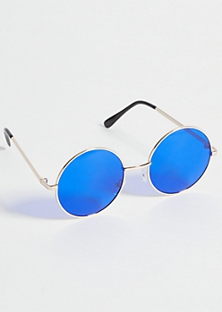 Gold Blue Lens Round Sunglasses