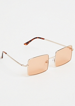 Rose Gold Rectangle Sunglasses