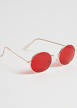 Gold Red Tint Oval Sunglasses