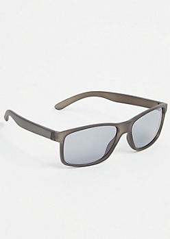 Gray Matte Rectangle Sunglasses