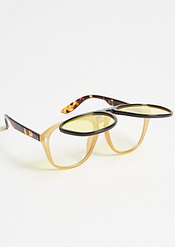 Yellow Back Clip Sunglasses