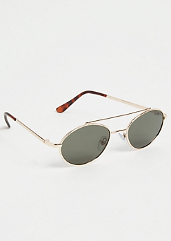 Gold Oval Brow Bar Sunglasses