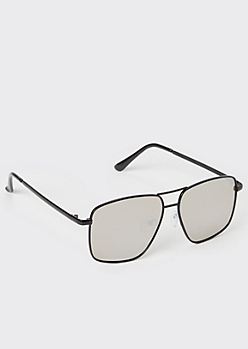 Black Navigator Square Sunglasses