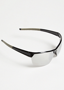 Silver Mirrored Sport Wrap Sunglasses