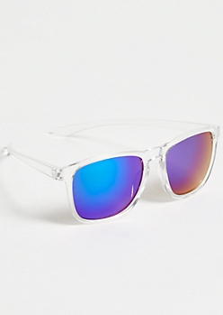 Clear Frame Mirrored Lense Sunglasses